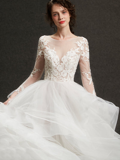 2018 Wedding Dress A-line Scoop Floor-length Long Sleeve Lace Ivory Wedding Dress # VB1173
