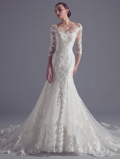 2018 Mermaid Wedding Dress Bateau Court Train 3/4-Length Ivory Appliques Lace Wedding Dress # VB1177 - DemiDress.com