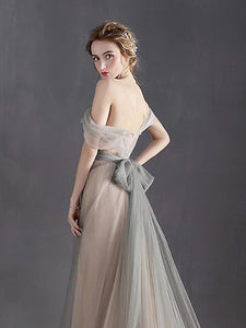 Cheap Prom Dress Off-the-shoulder Brush Train Simple Silver Prom Dress/Evening Dress # VB1190
