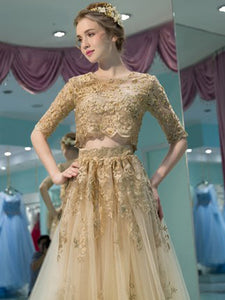 Gold Prom Dress A-line Scoop Two Piece Lace Long Prom Dress # VB1192