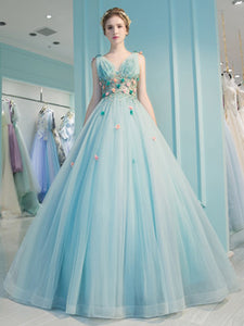 Blue Prom Dress Appliques Beading A-line Straps Brush Train Prom Dress/Evening Dress # VB1193