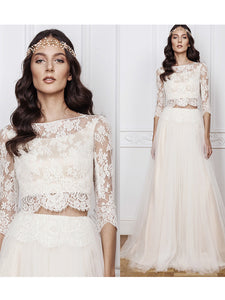 Cheap Wedding Dress A-line Bateau Floor-length 3/4-Length Lace Simple Wedding Dress # VB1196