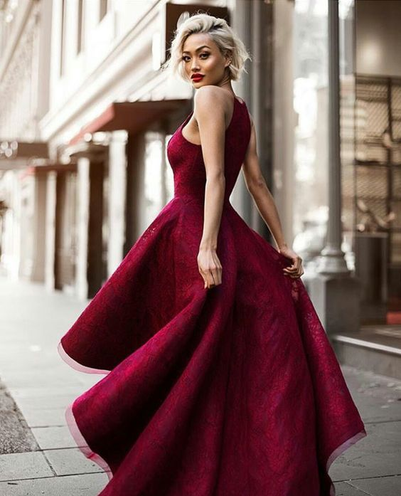 2018 Cheap Prom Dress A-line Lace Unique Scoop Asymmetrical Burgundy Prom Dress # VB1203