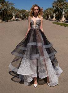 Black Prom Dress A-line Spaghetti Beading Unique Asymmetrical Lace Prom Dress # VB1208