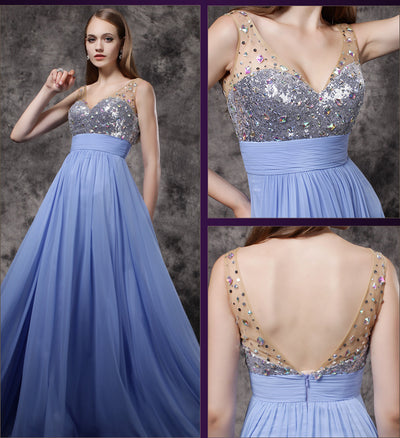 2018 Prom Dress Simple Lavender Chiffon A-line Cheap Long Prom Dress # VB1301 - DemiDress.com