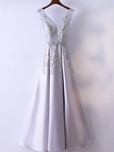 2018 Silver Prom Dress Beautiful Simple Lace A-line V-neck Cheap Long Prom Dress # VB1306 - DemiDress.com