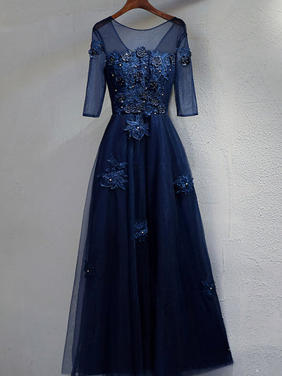2018 Prom Dress Long With Sleeves A-line Lace Cheap Prom Dress # VB1308 - DemiDress.com