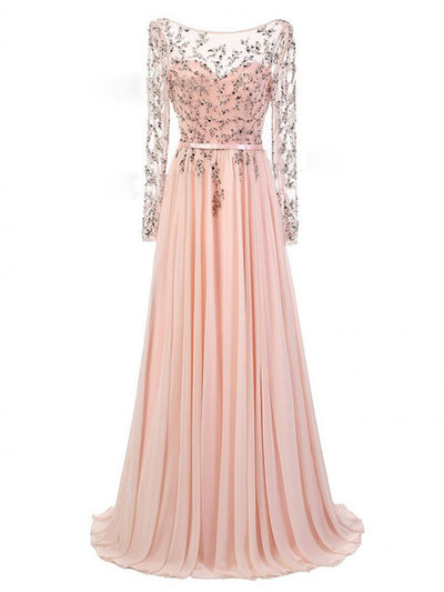 Pear Pink Prom Dress A-line Chiffon Long With Sleeves Cheap Prom Dress # VB1311
