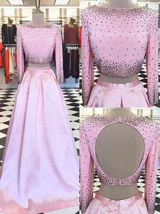 2018 Cheap Prom Dress Long With Sleeves Custom Made A-line Pink Long Prom Dress # VB1314 - DemiDress.com