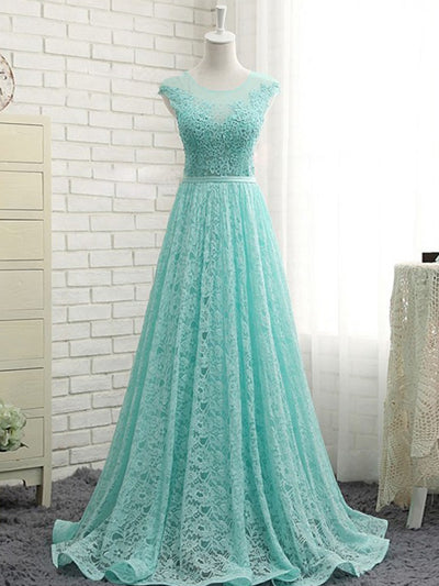 Cheap Prom Dress Blue Simple Beautiful A-line Lace Long Prom Dress # VB1315