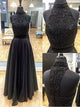 Two Piece Prom Dress A line Beautiful Long Black Cheap Prom Dress # VB1316