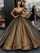 2018 Ball Gown Prom Dress Chocolate Sweetheart Long Cheap Prom Dress # VB1318 - DemiDress.com