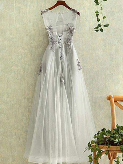 2018 Silver Prom Dress A-line Simple Cheap Long Prom Dress # VB1319 - DemiDress.com