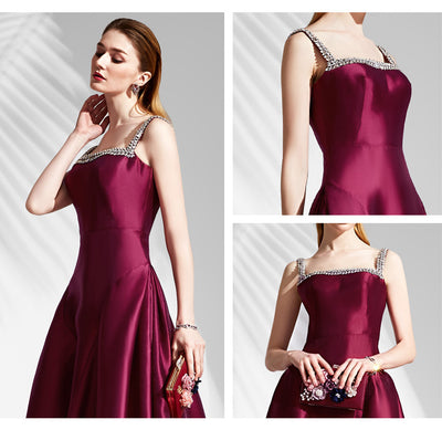 Burgundy Prom Dress A line Straps Brush Train Simple Cheap Long Prom Dress # VB1321