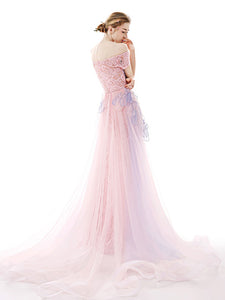 Pear Pink Prom Dress A-line Off The Shoulder Brush Train Lace Long Prom Dress # VB1325