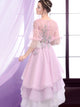 Lavender Prom Dress A-line Beautiful Asymmetrical Lace Cheao Prom Dress # VB1326