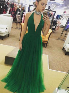 Long Prom Dress A-line Simple Green Cheap Prom Dress # VB1335