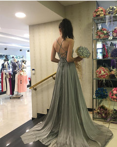Cheap Prom Dress A-line Simple Modest Chiffon Silver Long Prom Dress # VB1344