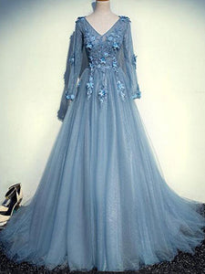 Prom Dress With Sleeves A-line Cheap Lace Simple Modest Long Prom Dress # VB1347