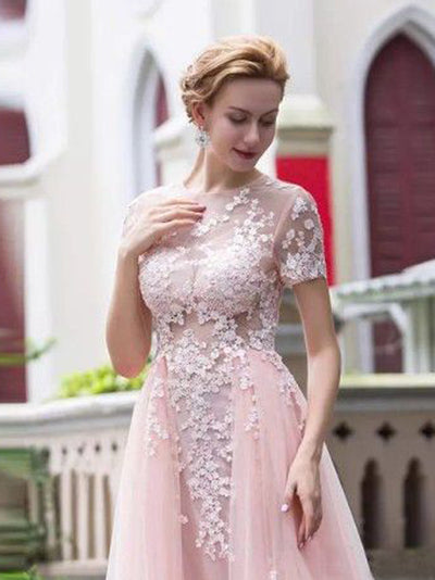 Pink Prom Dress A-line Simple Modest Beautiful Cheap Lace Long Prom Dress # VB1350