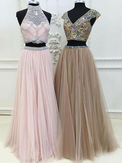 c4521aebb0d15 Two Piece Prom Dress A line Modest Beautiful Unique Pink Cheap Long Prom  Dress # VB1351