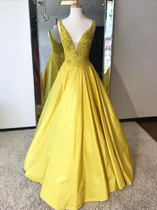 2018 Long Prom Dress A-line Cheap Simple Modest Yellow African Prom Dress # VB1357 - DemiDress.com