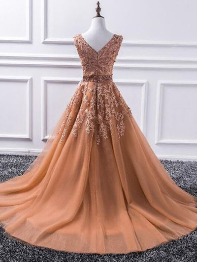 Lace Prom Dress A-line Simple Cheap Beautiful Vintage Long Prom Dress # VB1360