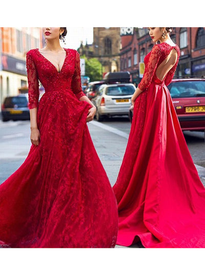 2018 Red Long Prom Dress A Line Simple Modest V-neck Cheap Prom Dress # VB1363 - DemiDress.com