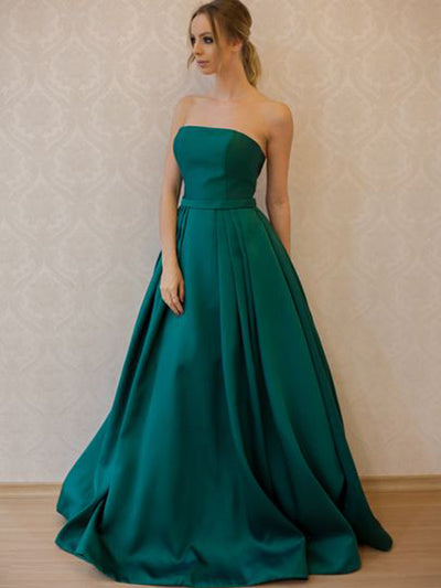 2018 Long Prom Dress A-line Cheap Simple Modest Strapless Prom Dress # VB1365 - DemiDress.com