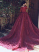 Burgundy Prom Dress A-line Simple Beautiful Lace Vintage Long Prom Dress # VB1375