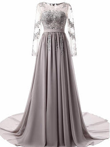 2018 Long Prom Dress A Line Simple Modest Silver Cheap Prom Dress # VB1382 - DemiDress.com
