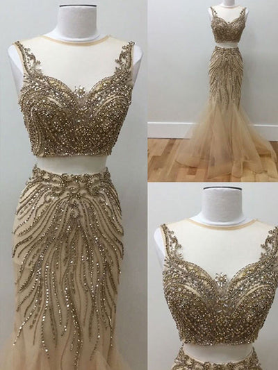 Mermaid Prom Dress Champagne Simple Modest Beautiful Cheap Two Piece Long Prom Dress # VB1390