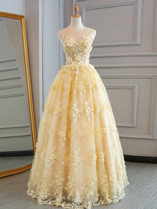 Yellow Prom Dress Lace Modest Elegant African Cheap Long Prom Dress # VB1401