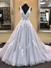 V Neck Silver Prom Dress A-line Simple Modest African Cheap Long Prom Dress # VB1402