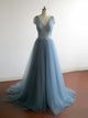 A-line Prom Dress Simple Modest Beautiful Cheap V Neck Long Prom Dress # VB1405