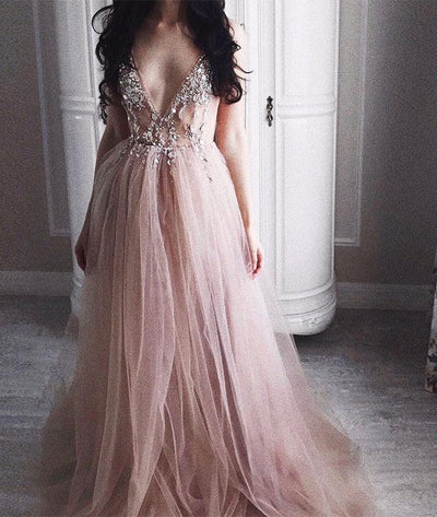 2018 Cheap Prom Dress Simple Modest Beautiful V Neck Long Prom Dress # VB1411 - DemiDress.com