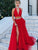 2018 Two Piece Prom Dress Simple Modest Beautiful Red Cheap Long Prom Dress # VB1414 - DemiDress.com