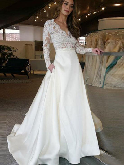 A Line V Neck Wedding Dress Plus Size Lace Vintage Wedding Dress ...