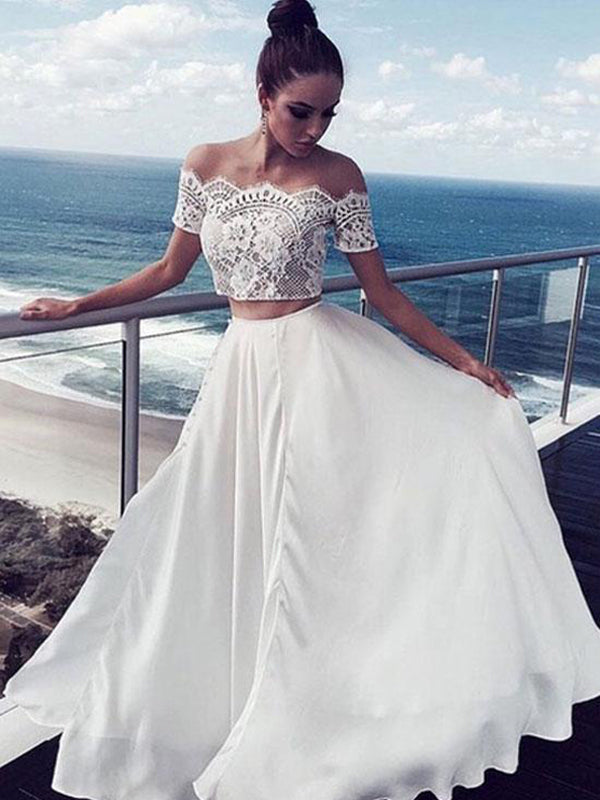 2018 Two Piece Prom Dress Simple Cheap A Line Long Lace Prom Dress #VB1422