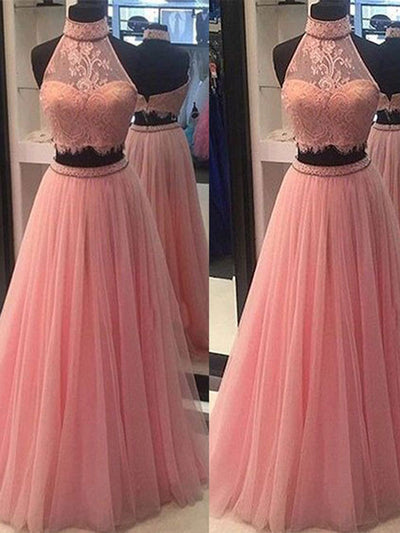 Two Piece Prom Dress Lace Modest Elegant African Cheap Long Prom Dress # VB1440