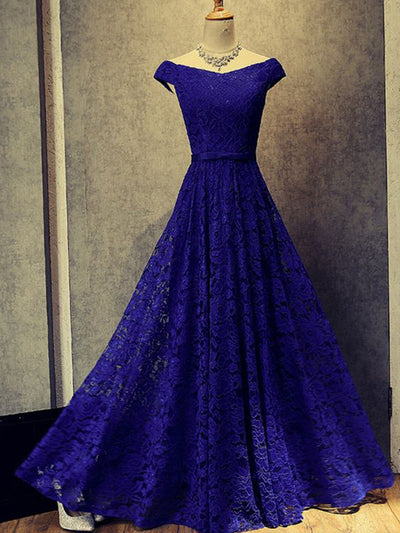 Chic Off The Shoulder Prom Dress Modest Cheap Lace Long Prom Dress #VB1442