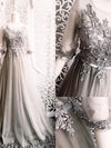 Silver Elegant Prom Dress Lace Modest African Cheap Long Prom Dress # VB1450