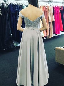 2018 Off The Shoulder Prom Dress Simple Modest Elegant Silver Cheap Long Prom Dress # VB1458 - DemiDress.com