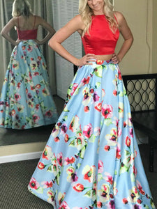 Two Piece Prom Dress Simple Modest Elegant Cheap Long Floral Prom Dress #VB1464