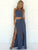 Two Piece Prom Dress Simple Modest Elegant Cheap Long Chiffon Prom Dress #VB1472