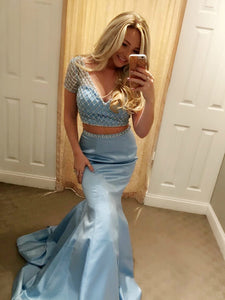 Mermaid Two Piece Prom Dress Simple Modest Elegant Cheap Long Prom Dress #VB1474