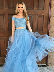 Two Piece Prom Dress Simple Modest Elegant Lace Long Cheap Prom Dress #VB1478