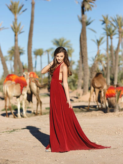 Burgundy Chiffon Prom Dress Simple Modest Elegant Cheap Long Prom Dress # VB1483