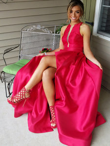 Chic A Line Prom Dress Simple Modest Elegant Cheap Red Long Prom Dress #VB1489