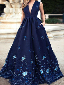 Chic A Line Prom Dress Simple Modest Elegant Cheap Long V Neck Prom Dress #VB1493